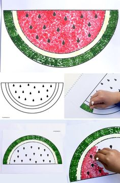 How to Paint a Watermelon with Cotton Buds & Make Film Play - Swap the paintbrushes for cotton buds and let& do some dot art! Summer Crafts For Toddlers, Easy Art For Kids, Craft Activities For Kids, Toddler Crafts, Projects For Kids, Watermelon Painting, Watermelon Crafts, Fruit Crafts, Watermelon Carving