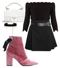 """Untitled #362"" by mirun on Polyvore featuring Prada, Robert Clergerie, Alexander McQueen, Diane Kordas, ootd and velvet"