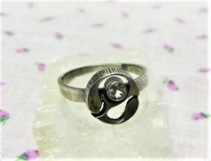 Vintage 1970s Sten and Laine Silver Ring with Rock Crystal Finland Modernist Adjustable Ring by letsreminisce on Etsy
