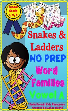 FREEBIE Word Families Activities that kids will love. Word Family study is an essential part of reading instruction. These fun and interesting Snakes and Ladders activities will help kids master these phonogram patterns for better reading and spelling comprehension. With colorful graphics and engaging theme, these worksheets will surely engage the attention of kids with ease.Follow me for updates when I upload more word families patterns.Kindly leave your feedback about these activities