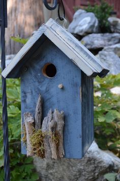 Rustic Birdhouse Handmade Woodworking Driftwood Moss Hand Painted Chickadee Wren House Birds Lawn Ornament Yard Art Garden House and Home