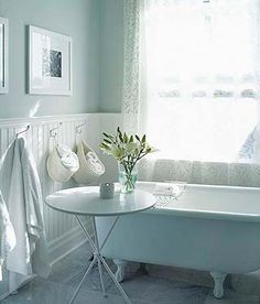 Cool blue bathroom with clawfoot tub. it's a Sarah Richardson design Sarah Richardson Bathroom, Room Deco, Favorite Paint Colors, Beach Cottage Style, White Bathroom, Parisian Bathroom, Neutral Bathroom, Modern Bathroom, Small Bathroom