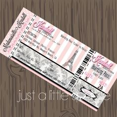 Paris Boarding Pass Invitation, DIY, Boarding Pass invite, Paris Birthday Party, Pairs Favor tags via Etsy