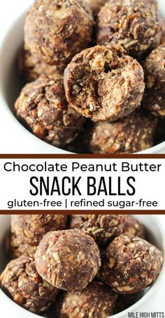 Healthy, easy, and quick to make Snack Balls are a fun, homemade snack to make for kids and adults! These no bake Chocolate Peanut Butter Snack Balls are gluten-free, refined sugar-free (naturally… Peanut Butter Snacks, Low Carb Peanut Butter, Chocolate Peanut Butter, Baking Chocolate, Chocolate Chips, Chocolate Protein Balls, Peanut Butter Balls, Paleo Chocolate, Sugar Free Snacks