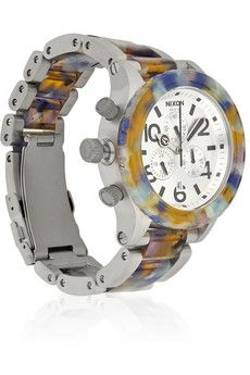 Totally in LOVE with this:  NIXON  42-20 Chrono watercolor-effect acetate and stainless steel watch  $450