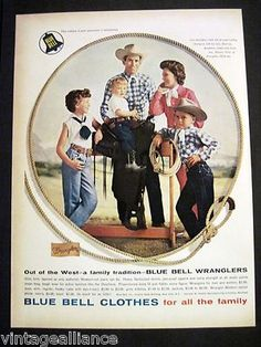 Vintage 1959 Cute Family Dressed in Wranglers Blue Bell Cowboy Fashion Print Ad
