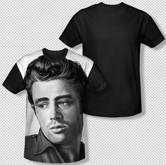 James Dean Stare Portrait Picture Photo All Over Front Sublimation T-shirt Top Men Sizes: S, M, L, XL, 2XL, 3XL