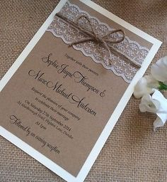 1 vintage/shabby chic 'Sophie' Wedding Invitation with lace and twine