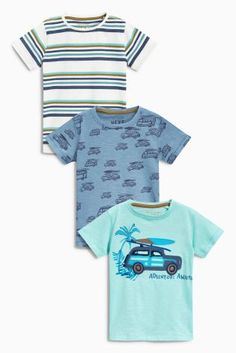 Buy Blue Car Short Sleeve T-Shirts Three Pack (3mths-6yrs) online today at Next: United States of America