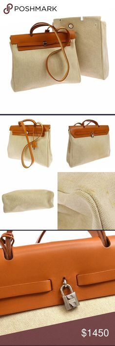 Auth Hermès HerBag MM 2 in 1 2way Beige Toile There is a sign of overall use, such as light staining on canvas.  Hermes HerBag MM size 2 in 1. Two canvas bags with leather. Removable shoulder strap.  Small Canvas bag: App 15 x 12.6 x 5.5 inches or 38 x 32 x 14 cm  Large Canvas bag: App 15 x 15 x 5.5 inches or 38 x 38 x 14 cm.  Brand	HERMES Number	Square:D ;Production in 2000 Color / Material	Beige, Camel/ Toile, Leather Comes with	Shoulder Strap, Spare Bag, Padlock, Key*2, Cover of Key…