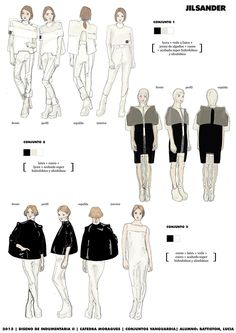 """This work was done on 2013 for Catedra Moragues, University of Buenos Aires. I had to design 2 collections for Jil Sander, one for her personal pret-a-porter brand and the other one for H&M as a """"capsula"""" collection."""