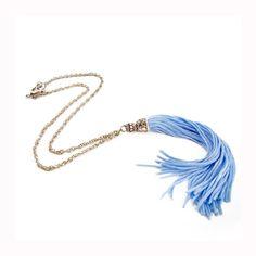 Blue Tassel Necklace Long Tassel Pendant by sunnybeadsbythesea, $12.90