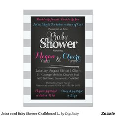 Joint coed shared Baby Shower Chalkboard Invitation Card boy or girls, custom colors and fonts #jointbabyshower #babyshowerfriends #coed #unique #customcolors #zazzle #invitations
