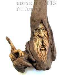ORIGINAL WOOD SPIRIT CARVING CRAZY ANGRY WIND -- OOAK NANCY TUTTLE ...