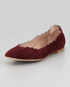 Scalloped Suede Ballerina Flat