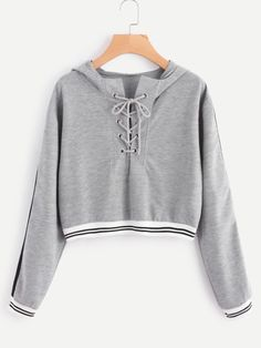 Shop Eyelet Lace Up Stripe Trim Hoodie online. SheIn offers Eyelet Lace Up Stripe Trim Hoodie & more to fit your fashionable needs. Crop Top Outfits, Komplette Outfits, Teen Fashion Outfits, Cute Fashion, Outfits For Teens, Trendy Outfits, Girl Fashion, Cute Crop Tops, Cami Tops