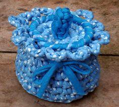 Pote em Trapilhos ou Fio de Malha, Crochet Rag Basket