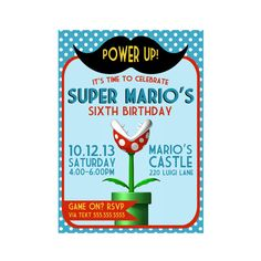 Custom Birthday Party Invite - Mario Invitation - Mustache - Super Mario - Party Supplies via Etsy