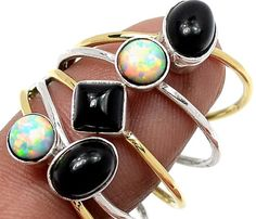 HOLIDAY SALE Fire Opal or Black Onyx Stack Sterling Silver Ring in Size 8.5 Mix and Match Stack Rings Collection on Etsy, $9.99