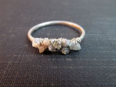 Raw Uncut Rough Diamond Cluster Ring  //  by TheChestnutForge