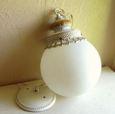 Vintage White with Gold Hanging Light - ShabbyNChic