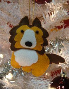 cute collie dog felt christmas xmas ornament. $10.00, via Etsy.