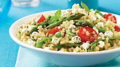 Be tempted by this easy Quinoa, asparagus, tomato & goat cheese salad recipe