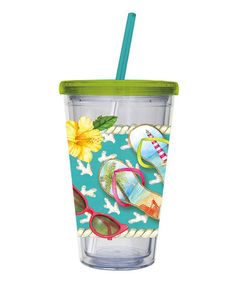 Take a look at this Fun in the Sun 17-Oz. Travel Tumbler & Straw by Hello, Sun: Entertaining on @zulily today!