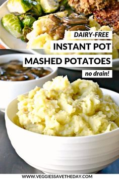 Dairy-Free Instant Pot Mashed Potatoes (No Drain!) - - Looking for the best, easiest, and creamiest mashed potatoes? These vegan dairy-free Instant Pot Mashed Potatoes (No Drain! Olive Oil Mashed Potatoes, Homemade Mashed Potatoes, Vegan Mashed Potatoes, Mashed Potato Recipes, Cheesy Potatoes, Baked Potatoes, Potato Dishes, Vegan Crockpot Recipes, Healthy Recipes
