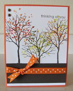 Thinking of You Fall Trio Trees Handmade Card Kit Using Some Stampin Up Products