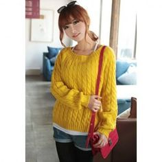 Concise Round Neck Solid Color Loose Fit Long Sleeve Cable-Knit Sweater For Women