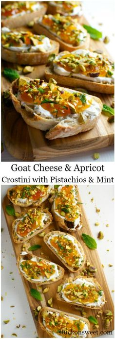 Goat Cheese and Apricot Crostini. A fancy yet simple appetizer recipe for any pa.-- Goat Cheese and Apricot Crostini. A fancy yet simple appetizer recipe for any party! Fancy Appetizers, Appetizer Dishes, Easy Appetizer Recipes, Appetizers With Goat Cheese, Hawaiian Appetizers, Dinner Party Appetizers, Fancy Dinner Recipes, Appetizer Ideas, Christmas Appetizers