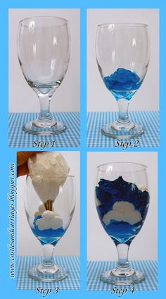 Sky Jello This is easy dessert reminds me of the summer sky! All you need is Berry Blue Jello, Cool Whip, parfait glasses (what I'm using are my water glasses) and Wilton cake decorating tip is optional. Jello Desserts, Jello Recipes, Easy Desserts, Delicious Desserts, Parfait Recipes, Jello With Cool Whip, All You Need Is, Blue Jello, Wilton Cake Decorating