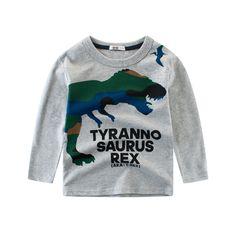 be82c273b Encontrar Más Camisetas Información acerca de Nuevo otoño niños dibujos  animados dinosaurio camisetas niños 100%