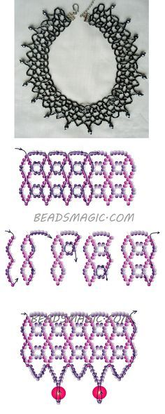 Necklace Jewelry Free pattern for necklace Black Net - 2 ---------------u need 2 colors of seed beads and pearls 6 or - Free pattern for beaded necklace Black Net U need: 2 cut seed beads or Diy Necklace Patterns, Seed Bead Patterns, Beading Patterns, Beaded Jewelry Designs, Bead Jewellery, Beading Jewelry, Beaded Crafts, Jewelry Crafts, Beading Tutorials