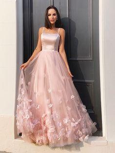 A-Line/Princess Tulle Hand-Made Flower Straps Floor-Length Sleeveless Dresses Stunning Prom Dresses, Pretty Prom Dresses, Cute Dresses, Beautiful Dresses, Glitter Prom Dresses, Pink Prom Dresses, Tulle Prom Dress, Prom Gowns, Prom Party Dresses