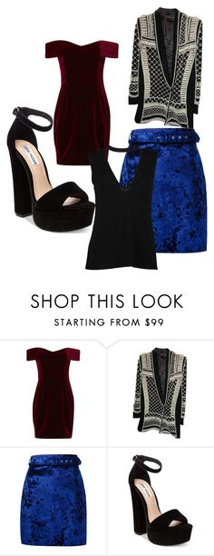 """""""Untitled #1186"""" by bellagioia ❤ liked on Polyvore featuring Nicholas, Balmain, MSGM, Steve Madden and Boohoo"""