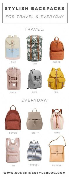 12 Stylish Backpacks For Travel And Everyday Backpacks For Travel Cute Backpacks For Travel Stylish Travel Bag Includes My Fav Backpack Brands From Herschel, Target, Shopbop, And Everlane - Sunshine Style Best Shoes For Travel, Best Travel Bags, Mens Travel Bag, Backpack Travel Bag, Backpack Brands, Travel Shoes, Backpack Purse, Fashion Backpack, Travel Fashion