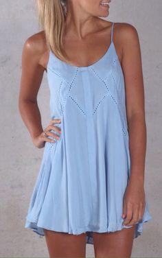 Simple light blue loose dress