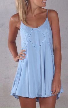 Simple light blue loose dress
