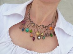Statement necklace multicolored stained glass by ArtemisFantasy, $125.00