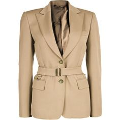 Gucci Beige Belted Blazer S ❤ liked on Polyvore featuring outerwear, jackets, blazers, formal blazers, formal jackets, gucci, belted jacket and gucci jacket
