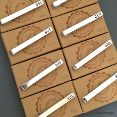 Groomsmen gift, Personalized Tie Clip, Skinny Tie clip, short, Groomsmen tie…