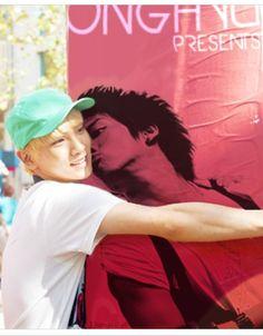 SHINee Scrapbook CuteKey hugging a poster of Jonghyun.