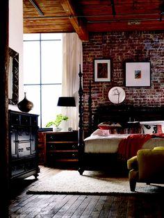 Ideas Dark Wood Bedroom Decor Interior Design Exposed Brick For 2019 Hooker Furniture, Dark Wood Bedroom Furniture, Brick Wall Bedroom, Exposed Brick Walls, White Bedroom, Master Bedroom, Pretty Bedroom, Bedroom Loft, Dream Bedroom