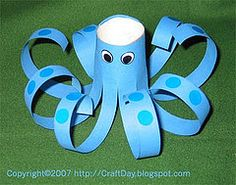 toilet paper roll octopus-great to do with the book 'I'm the biggest thing in the ocean' by Kevin Sherry - great cutting practice for preschool kids Octopus Crafts, Ocean Crafts, Preschool Crafts, Crafts For Kids, Arts And Crafts, Preschool Ideas, Toilet Paper Roll Crafts, Paper Crafts, Paper Glue