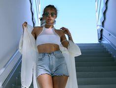 JAVS: BEACH OUTFIT - Victoria's Secret Mesh Bikini Top and Amerian Apparel Denim Shorts