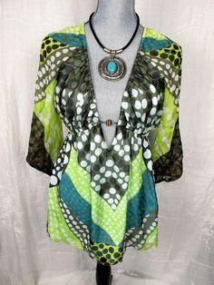 Milly of New York 6 Women's Top Silk Polk A Dot Resort Wear Empire Waist Blouse #MillyofNewYork #Blouse #Casual