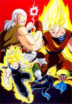 Goku, Trunks, and Vegeta vs the Androids