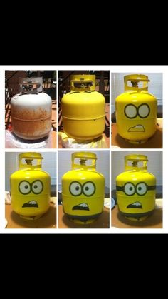 Craft with propane grill tank with minion  character art